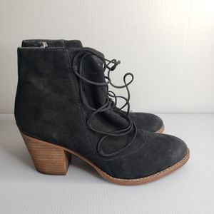 Sam Edelman Lace Up Suede Booties Stacked Heel